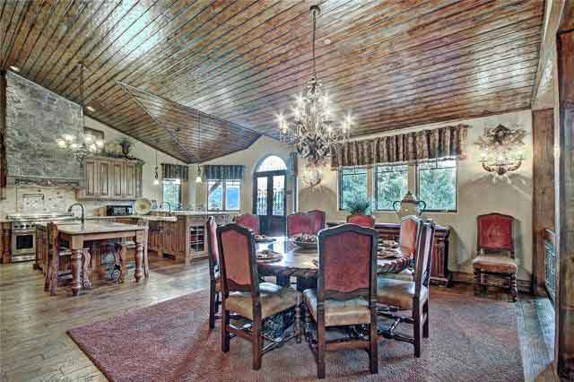 The kitchen and dining room of the home at 1065 Four O'Clock Road are exquisite.